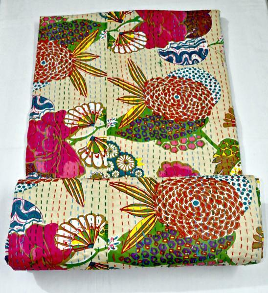 Kantha Quilt Bedcover BlanketBedspread Throw Cotton Blanket Queen  King size