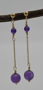 #BE-117 New 14K Solid Gold Natural Amethyst Drop/Dangle Earrings