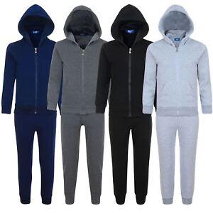 Kids-Plain-2-Piece-Tracksuit-Fleece-Hooded-Top-Jogging-Bottoms-Sizes-3-14-Years