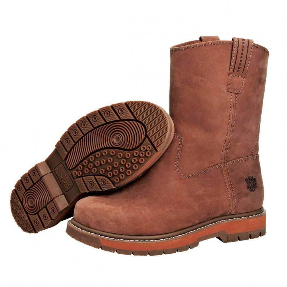 Muck Boot Wellie Classic Soft Toe Men's Leather Work Boot, Medium Width