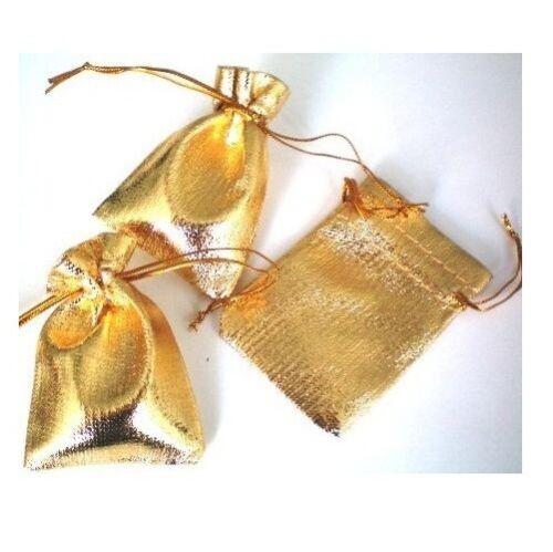 Lot 12  Pochettes cadeau Doré 11X9 cm pour bijoux Neuf
