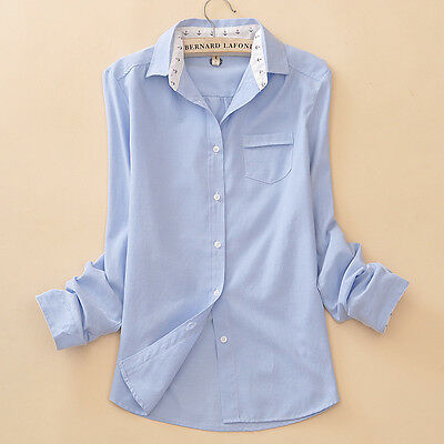 Women Blue Anchor Lapel Long sleeve Button Down cotton Casual Shirt Blouse ML