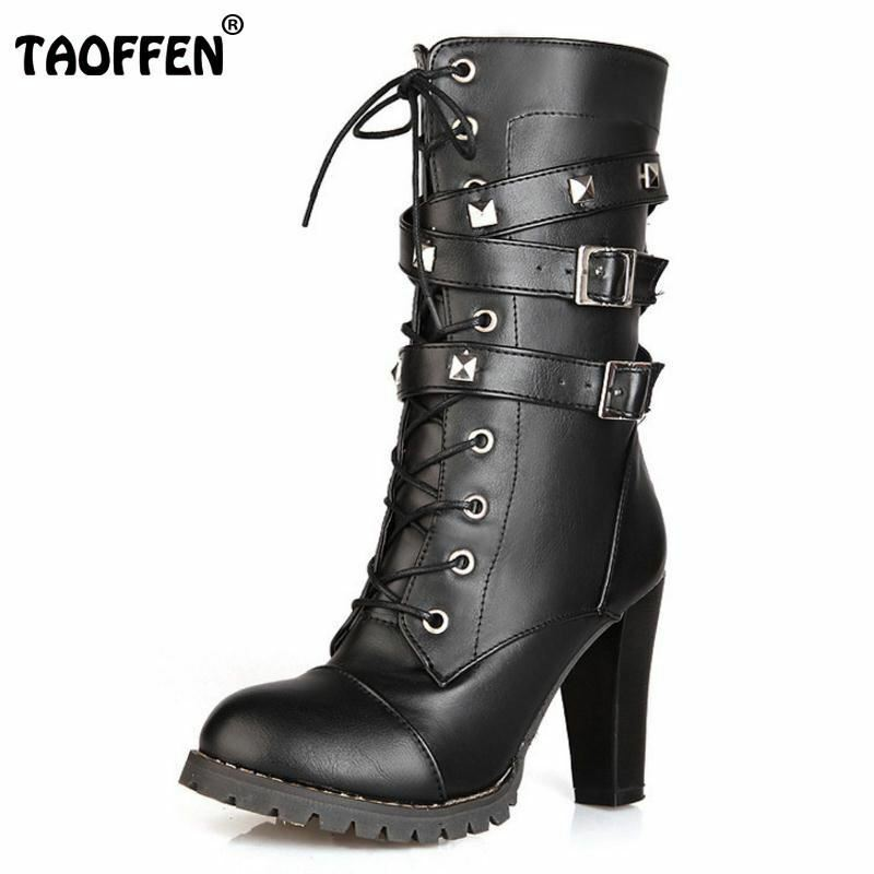 TAOFFEN Ladies shoes Women boots High heels Platform Buckle Zipper Rivets Sapato