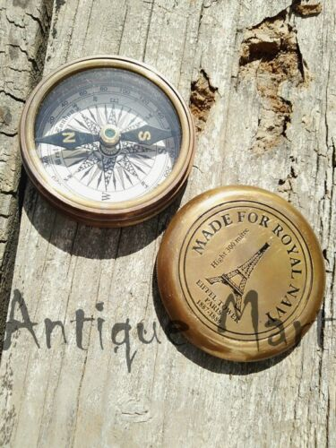 """Brass Antique Poem Compass Made For Royal Navy Compass Vintage 2.5/"""""""