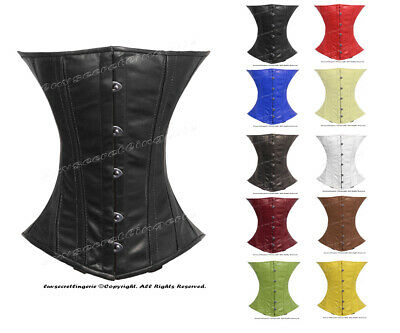 Heavy Duty 26 Double SteelBone Waist Training Faux Leather Underbust Corset 8019
