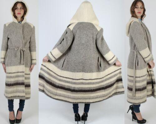 Vtg 70s Icewool Knit Coat Nordic Icelandic Full Le