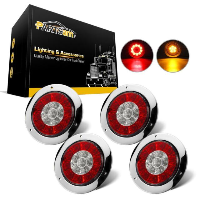 4pcs 4 Inch Round Red Amber LED Turn Stop Brake Trailer tail Lights for RV  Truck
