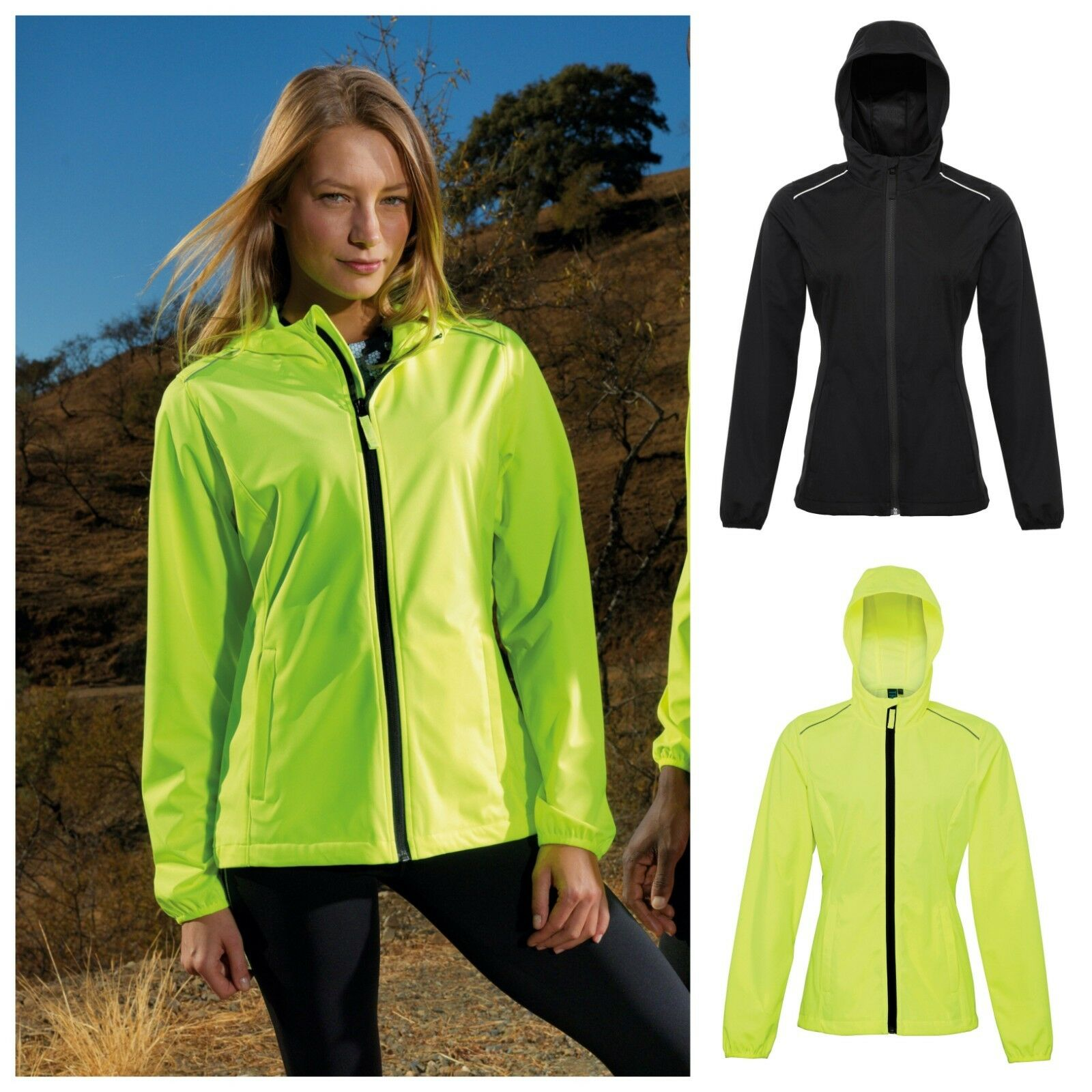 Womens Ladies Light Thin Reflect Sports Running Softshell Jacket Coat Soft Shell