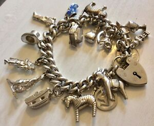 Superb-Massive-Really-Heavy-Solid-Silver-Charm-Bracelet-Over-85-Grams