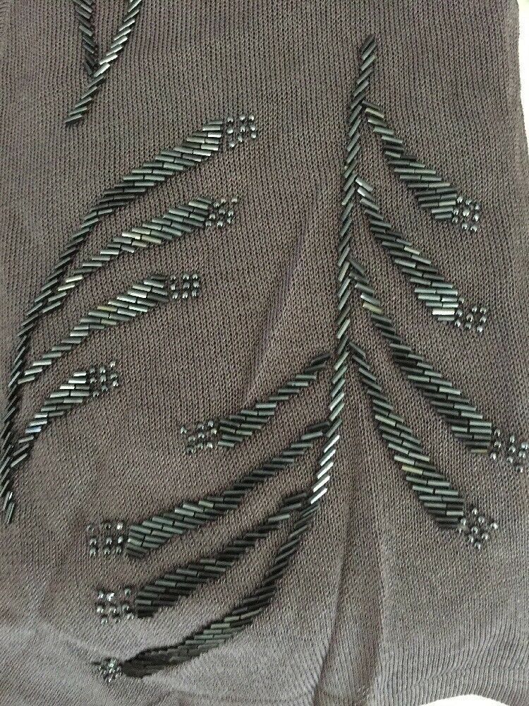 NWT DANA BUCHMAN Purple Beaded Sweater Sweater Sweater Twin Set Small 9a02bb