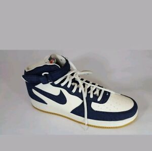 buy popular a808c 73309 Details about Nike Air Force 1 Mid 07 Denim Obsidian Mens 18 NEW