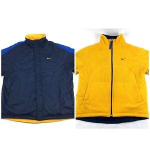 Details about Vintage Nike Jacket Reversible Polyester Fleece Swoosh 90s Sz Large Blue Yellow