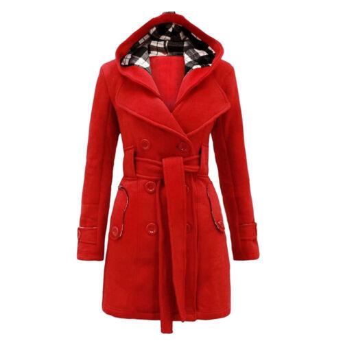 Damen Jacke Windbreaker Jacke mit Kapuze Gürtel Mantel Winter