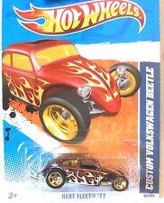 2011 Hot Wheels #99 HEAT FLEET * CUSTOM VOLKSWAGEN BEETLE * vw MF BURGUNDY