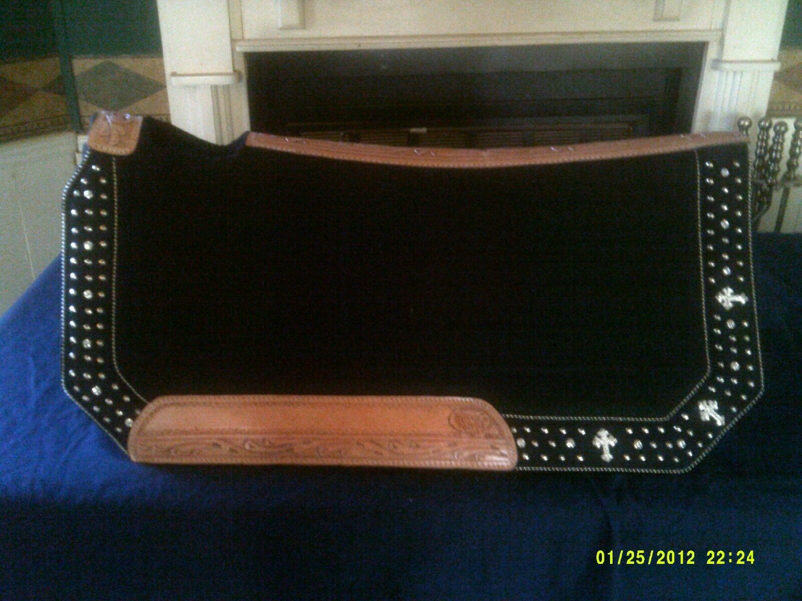 Saddle Pad Show Style Tooled Natural Wear Leathers Crystal Cross Design