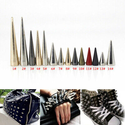 Solid Metal Screw Fix Spike Studs Cone Bullet Punk Rivet Leather craft Decor