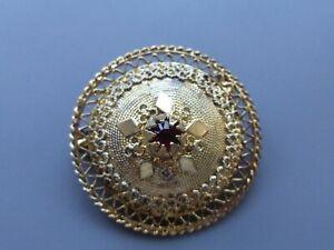 broche ancienne en vermeil plaqué or sur argent 800 poinçons 7gr 3cm  grenat tbé