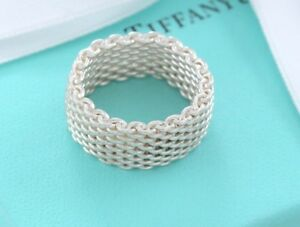 b652b517afefa Details about Tiffany & Co Somerset Sterling Silver Mesh Love Ring Sz 11.5  +Box & Pouch Lovely