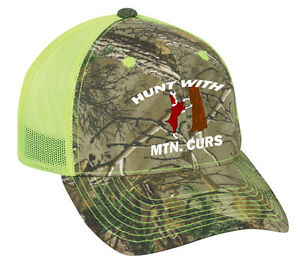 66c51267a Details about Cap Hat Custom Camo Yellow Mesh Coonhound Hound Dog Hunt Coon  Mtn Cur Personaliz