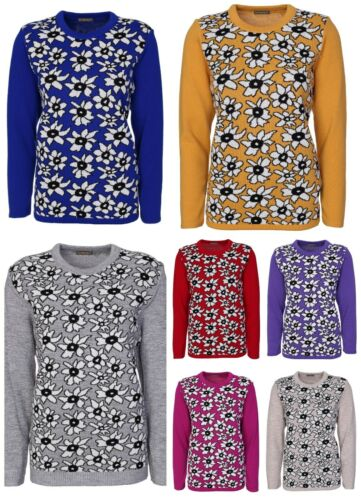 Womens Jumper Long Sleeves Crew Neck Floral Ladies Knitted Sweater Size 10-18