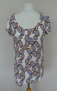 22bbe869b37c44 M&S Cream Grey Black Orange Pebble Spot Print Jersey T-Shirt Top ...