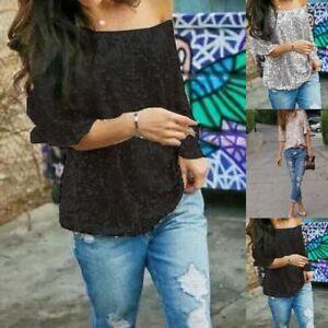 d0311c916d8 Plus Size Summer Woman Off-shoulder Glistening Sequin Slim Shirt Top ...