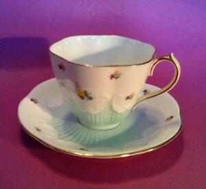 Queen-Anne-Tea-Cup-And-Saucer-Pale-Turquoise-Green-With-Tiny-Flowers-England