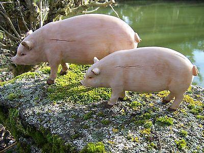69807 Deux Figurine Statuette Cochon Ferme Neuf Promo Dernier