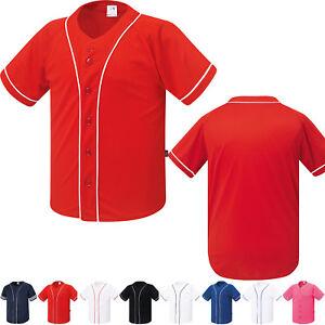 684f20e0 New Mens Baseball Button Jersey Raglan Plain Open T-Shirt Team Sport ...
