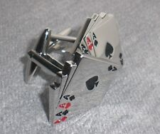 Gift Bag + Aces cuff links Silver Plated Bridge Ace Poker Cufflinks Card Games