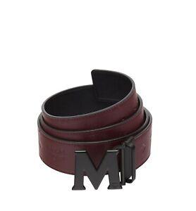 MCM Black Smooth Leather Gloss Buckle Hook Belt