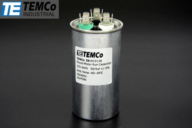 TEMCo 30/5 MFD uF Dual Run Capacitor 370 440 vac Volts AC Motor HVAC 30+5