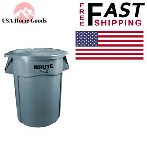 400c229c Details about Gray Round Vented Trash Can with Lid 32 Gal. Heavy Duty  Indoor Garbage Bin