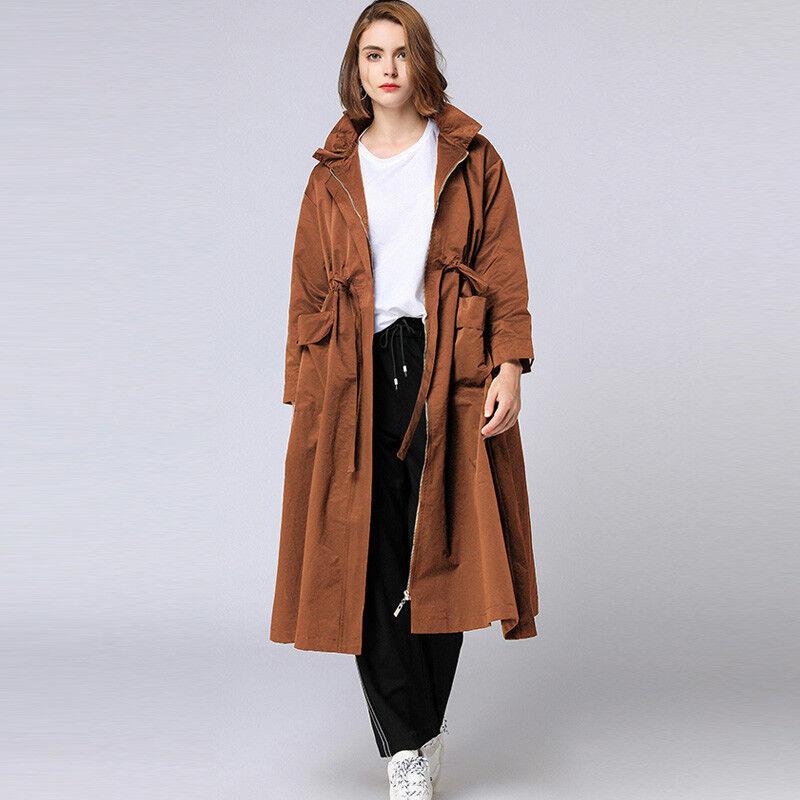 Plus size Women's Elegant long coats Lotus leaf collar Loose Zipper trench coat
