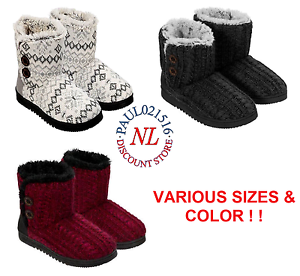 ed2a8548db4a Image is loading NEW-WOMENS-DEARFOAMS-SWEATER-KNIT-2-BUTTON-BOOTIE-