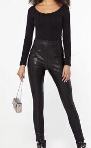 New Look Black Seamed Leather-look Leggings Size 10