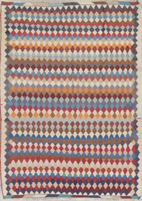 Kilim Hand Woven 5x7 Red Wool Persian