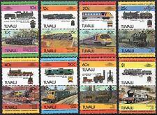 1984 TUVALU Set #2 Train Locomotive Railway Stamps (Leaders of the World)