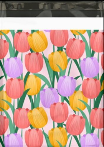 10x13 Trendy Tulips Designer Mailers Colored Self Adhesive Shipping Labels