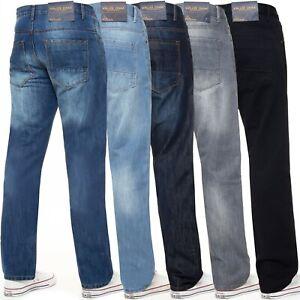 Kruze-Designer-Para-hombres-Calce-Regular-Denim-Jeans-Pantalones-Pantalon-Pierna-Recta-Todas-Las