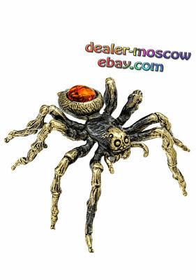 Bronze Solid Brass Baltic Amber Figurine Scorpion IronWork Miniature