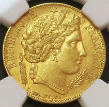 1850 A GOLD FRANCE 20 FRANCS CERES COIN NGC ABOUT UNCIRCULATED 58