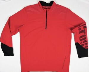 Reebok-Cross-fit-rouge-demi-zip-Homme-Athletic-Pull-Gris-Taille-Homme-L
