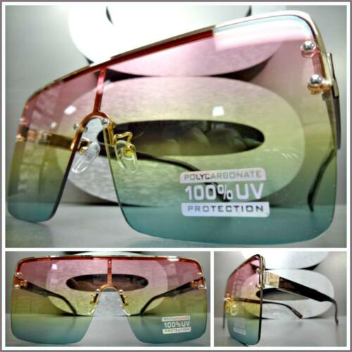 Oversized Exaggerated Vintage Retro Style SUN GLASSES Rose Gold Frame Ombre Lens