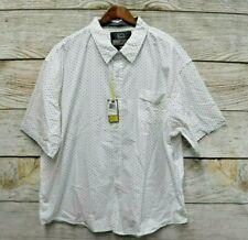 Broken Threads Mens 3X White Navy Crown Design Button Front Casual Shirt New