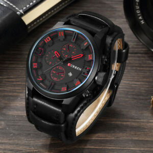 Curren-Watch-Tactical-Quartz-Wristwatches-Leather-Man-039-s-Casual-Sports-Watches