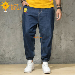 Nouveau-Homme-Bleu-Jogger-denim-pantalon-effet-vieilli-Loose-Harem-Jeans-Plus-Taille-30-46