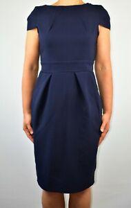 Closet-Aline-Dress-Blue-Navy-Autumn-Winter-Office-Smart-Tye-Back-Size-12-AB