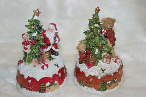 Spieluhr Bär /& Santa Material Poly erhältl H 16,5 cm Weihnachten 2 Mod
