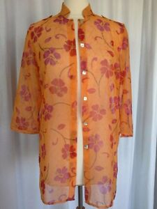 SIZE-M-New-58-00-CRAZY-HORSE-Tunic-Semi-Sheer-Orange-Red-Button-Shirt-Top